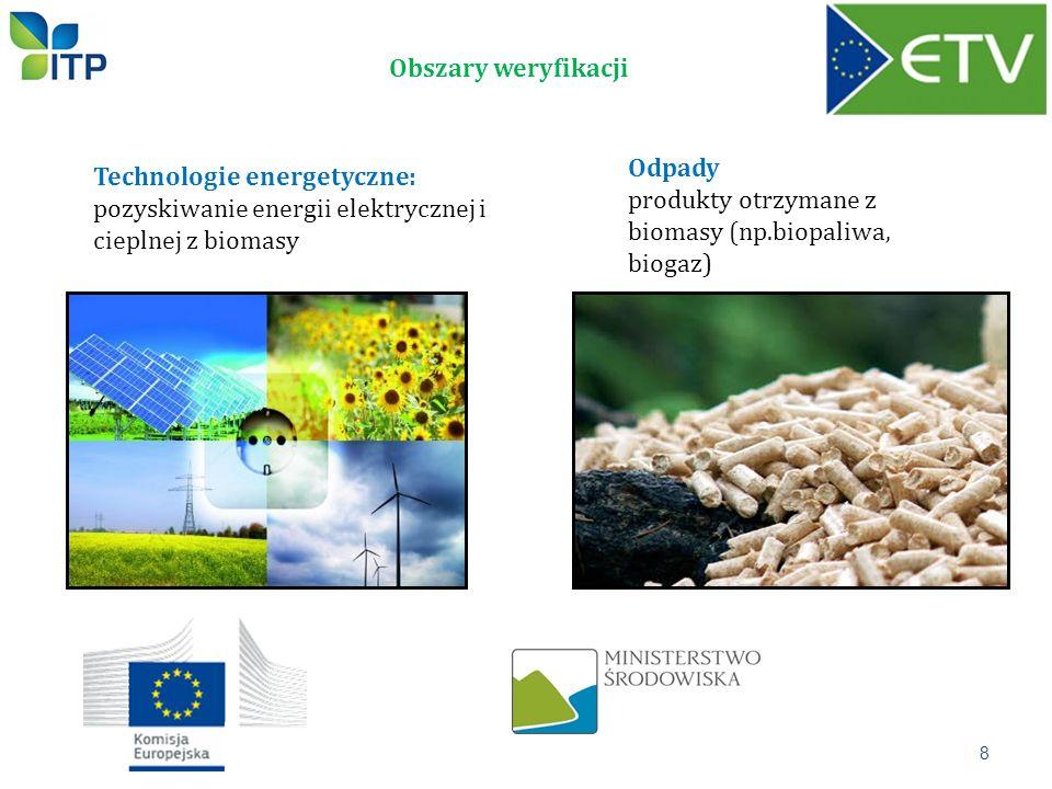 Obszary weryfikacji Odpady. produkty otrzymane z biomasy (np.biopaliwa, biogaz) Technologie energetyczne: