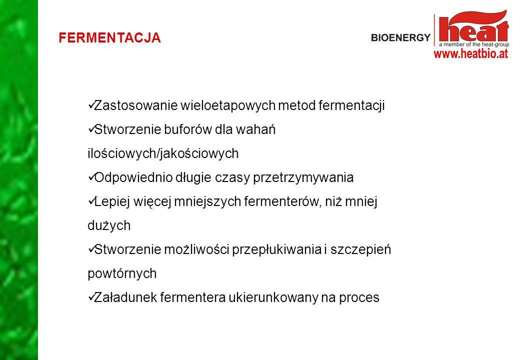 FERMENTACJA Zastosowanie wieloetapowych metod fermentacji. Stworzenie buforów dla wahań ilościowych/jakościowych.