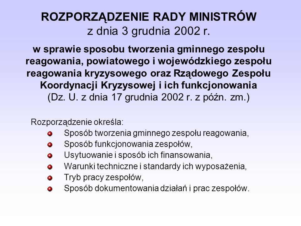 ROZPORZĄDZENIE RADY MINISTRÓW z dnia 3 grudnia 2002 r