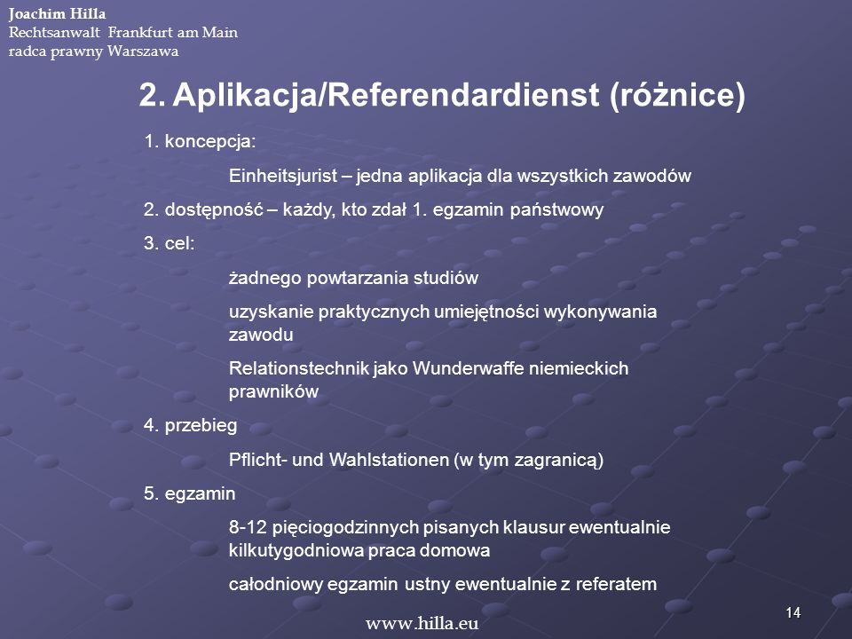 2. Aplikacja/Referendardienst (różnice)