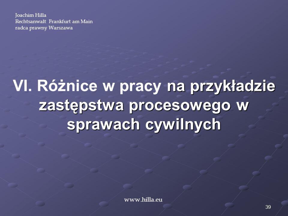 Joachim HillaRechtsanwalt Frankfurt am Main. radca prawny Warszawa. VI. Różnice w pracy na przykładzie zastępstwa procesowego w sprawach cywilnych.