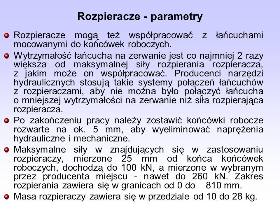 Rozpieracze - parametry