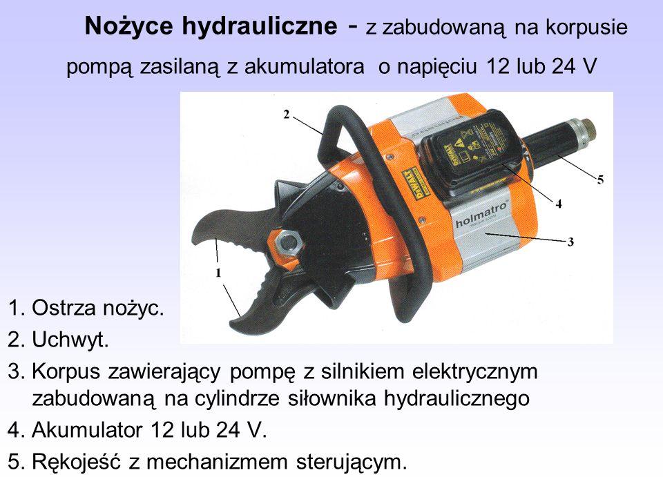 Nożyce hydrauliczne - z zabudowaną na korpusie pompą zasilaną z akumulatora o napięciu 12 lub 24 V