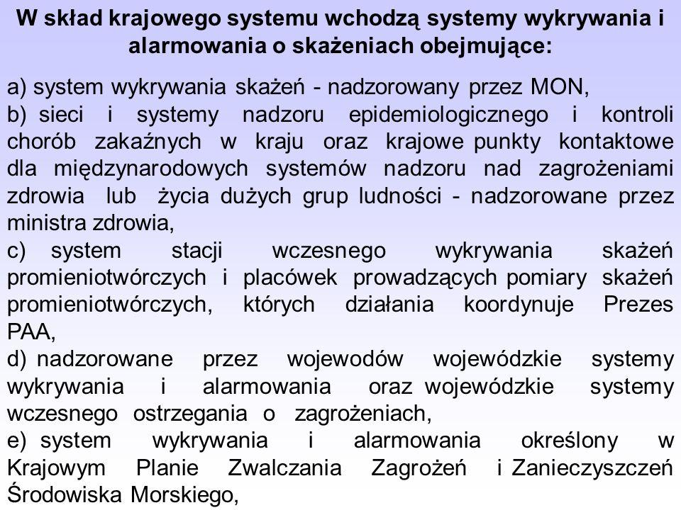 W skład krajowego systemu wchodzą systemy wykrywania i alarmowania o skażeniach obejmujące: