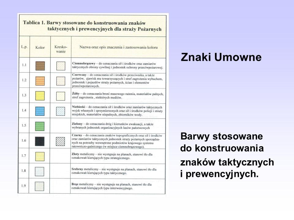 Znaki Umowne Barwy stosowane do konstruowania