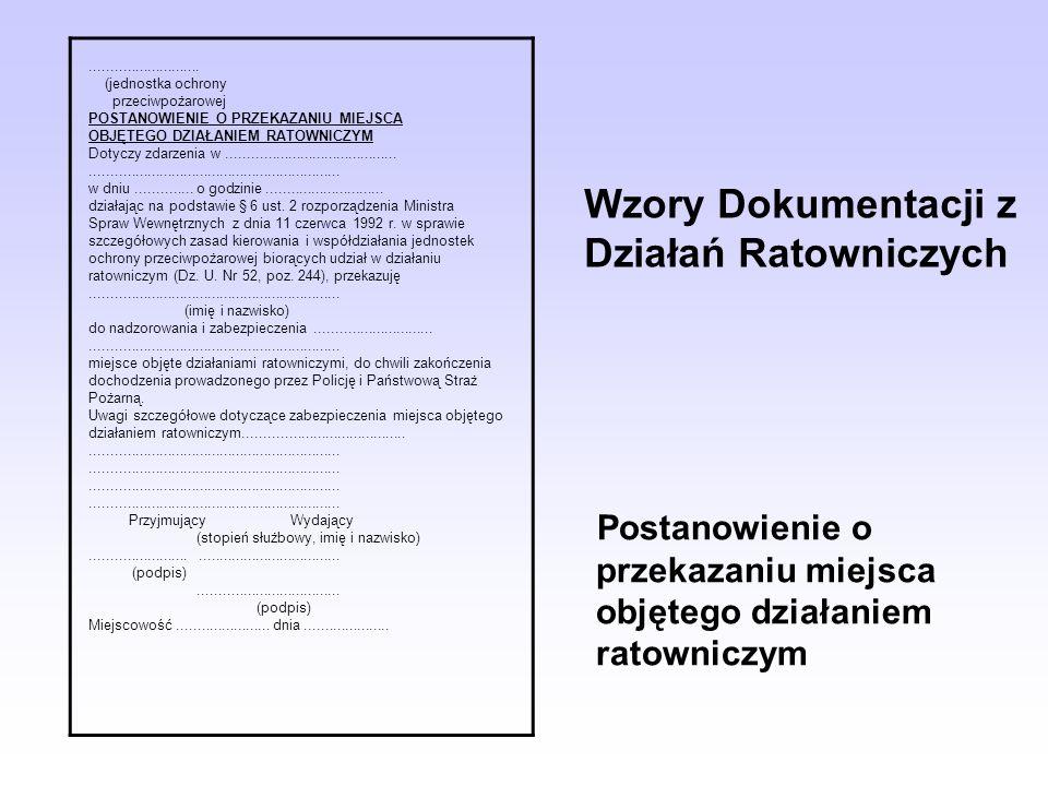 Wzory Dokumentacji z Działań Ratowniczych