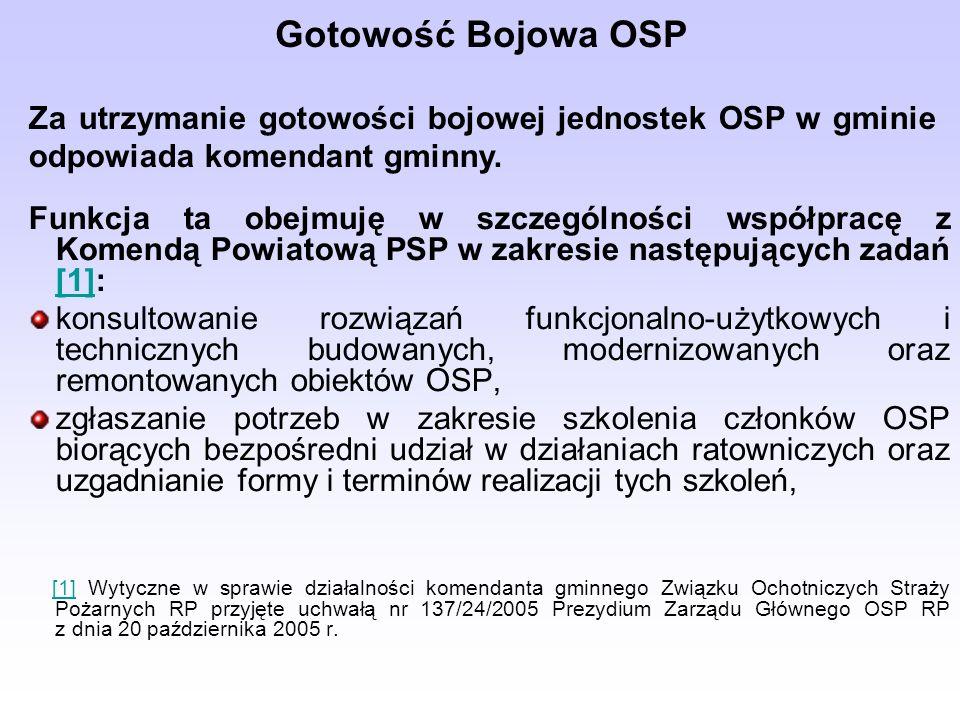 Gotowość Bojowa OSP Za utrzymanie gotowości bojowej jednostek OSP w gminie odpowiada komendant gminny.