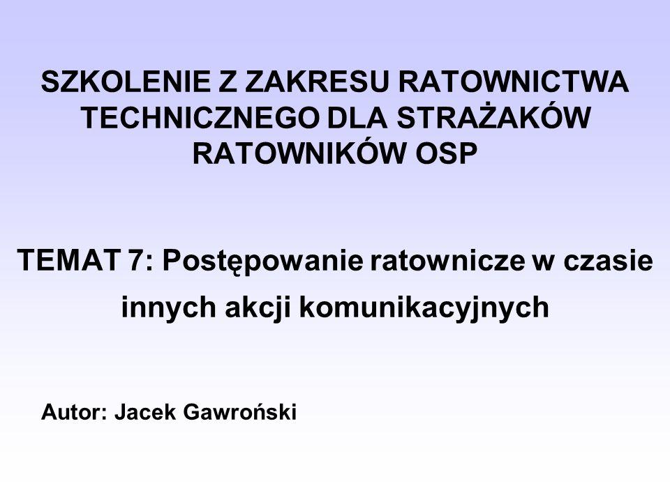SZKOLENIE Z ZAKRESU RATOWNICTWA TECHNICZNEGO DLA STRAŻAKÓW RATOWNIKÓW OSP TEMAT 7: Postępowanie ratownicze w czasie innych akcji komunikacyjnych