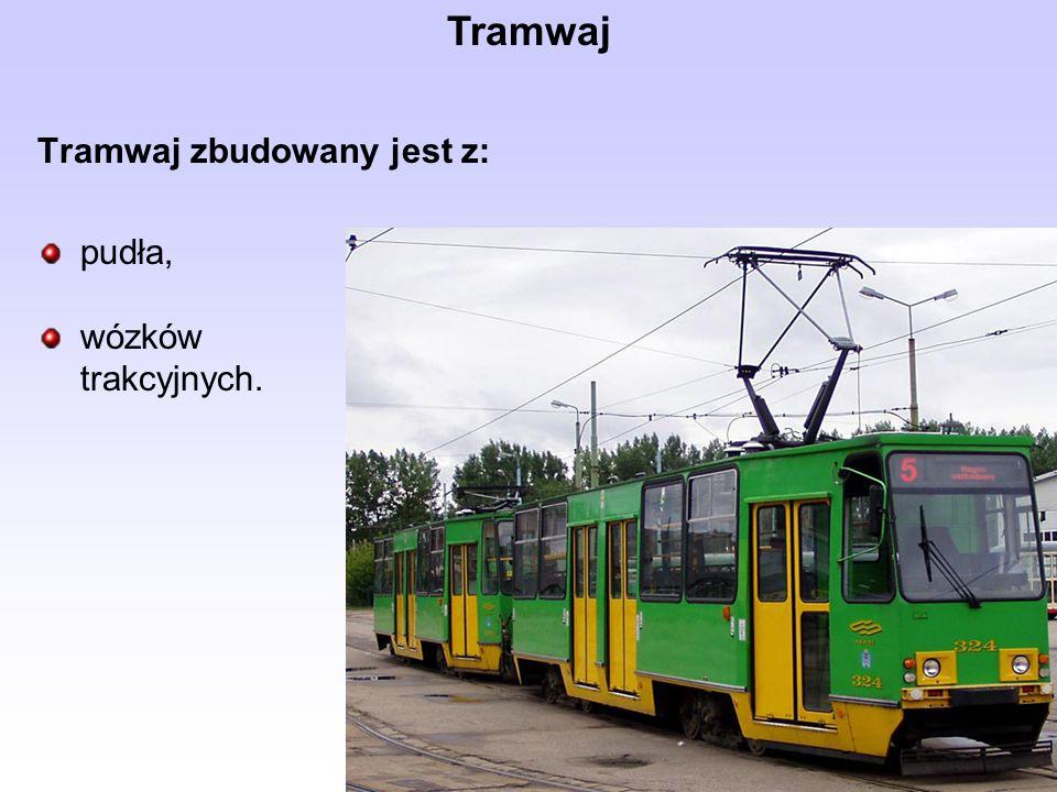 Tramwaj zbudowany jest z: pudła, wózków trakcyjnych.