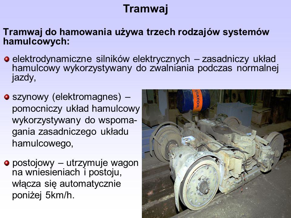 TramwajTramwaj do hamowania używa trzech rodzajów systemów hamulcowych: