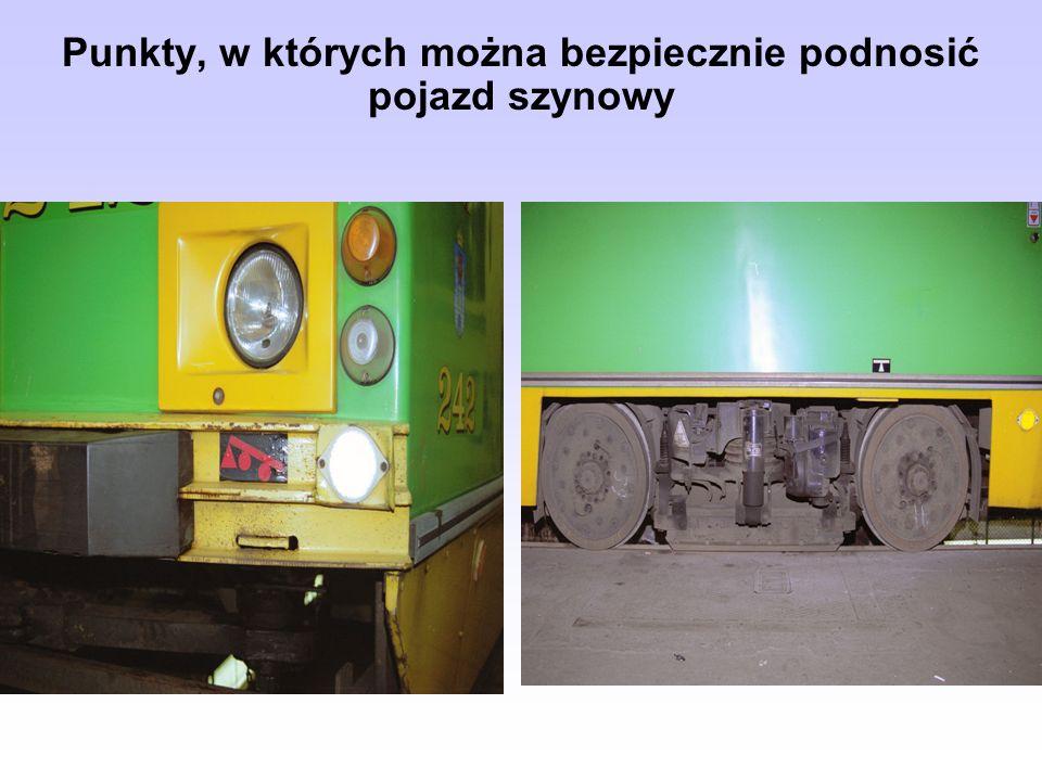 Punkty, w których można bezpiecznie podnosić pojazd szynowy