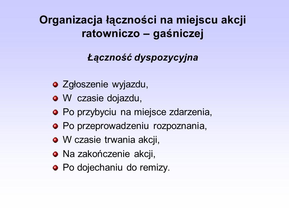 Organizacja łączności na miejscu akcji ratowniczo – gaśniczej Łączność dyspozycyjna