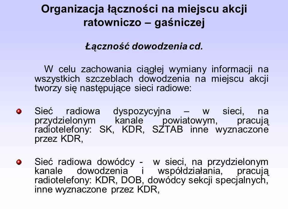 Organizacja łączności na miejscu akcji ratowniczo – gaśniczej Łączność dowodzenia cd.