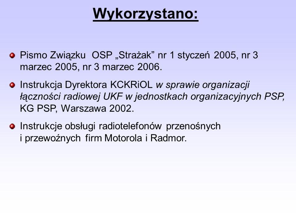 """Wykorzystano: Pismo Związku OSP """"Strażak nr 1 styczeń 2005, nr 3 marzec 2005, nr 3 marzec 2006."""