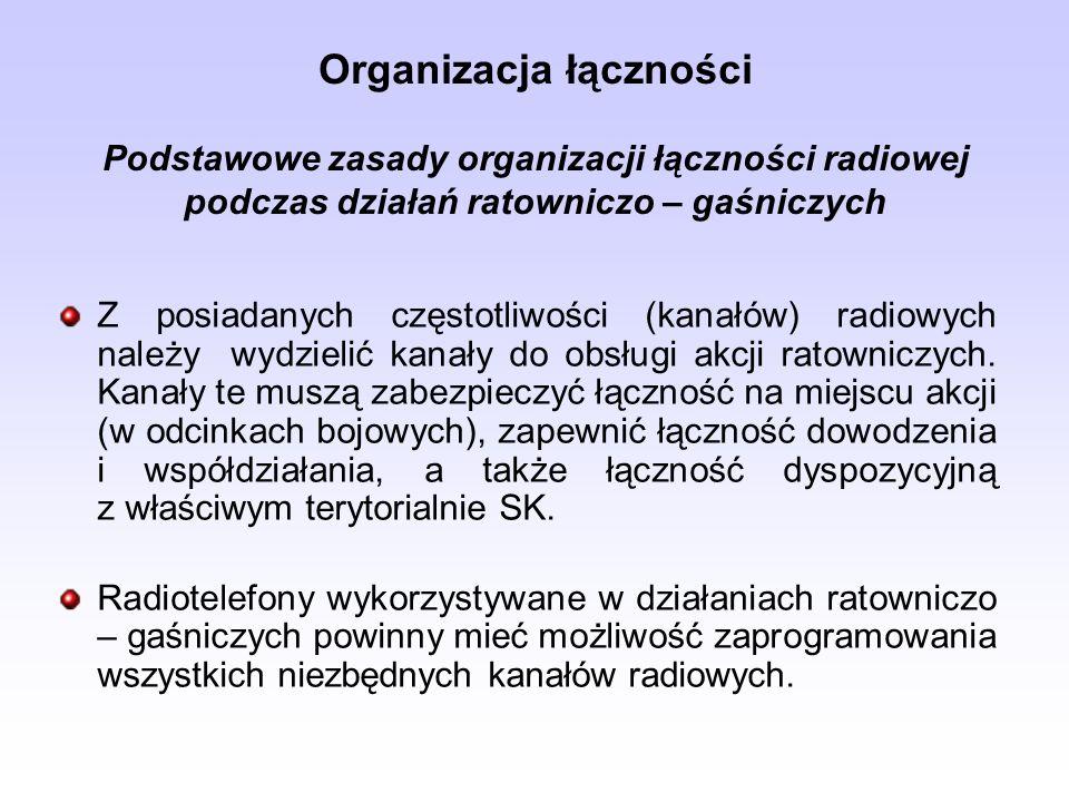 Organizacja łączności Podstawowe zasady organizacji łączności radiowej podczas działań ratowniczo – gaśniczych