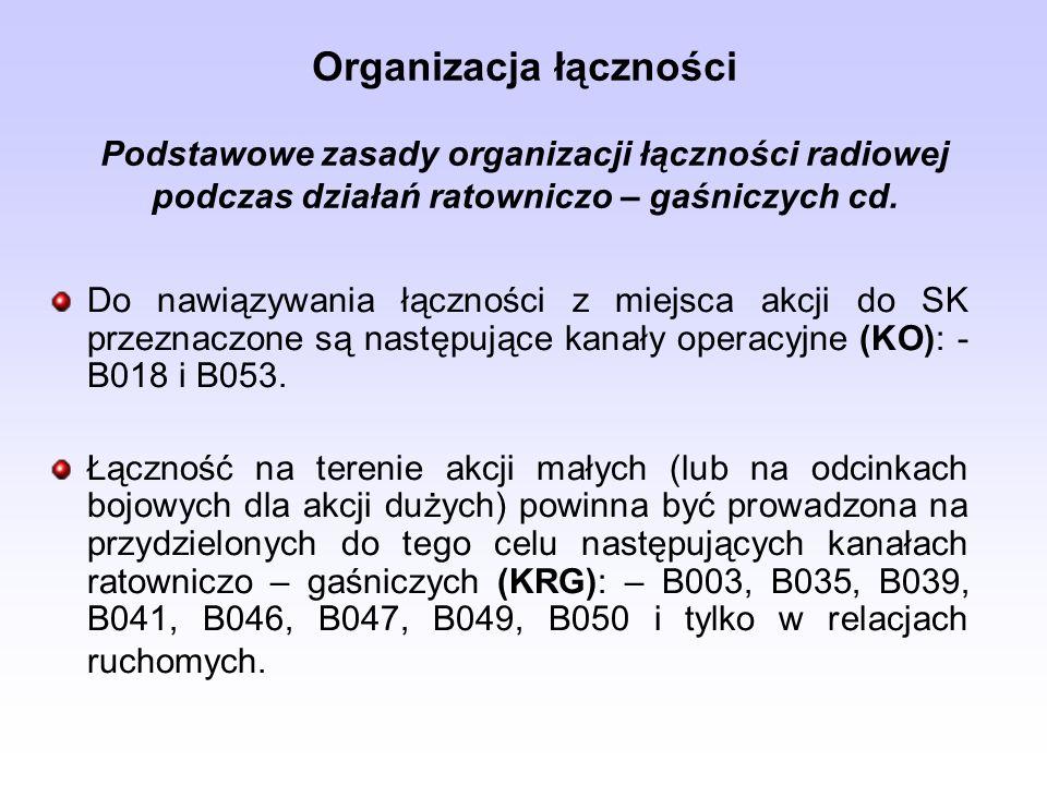Organizacja łączności Podstawowe zasady organizacji łączności radiowej podczas działań ratowniczo – gaśniczych cd.