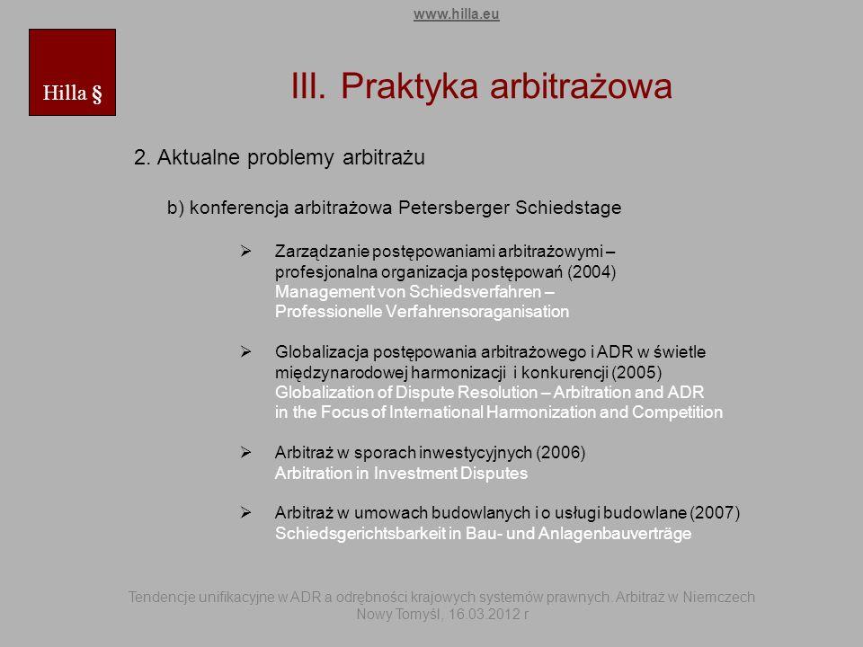 III. Praktyka arbitrażowa