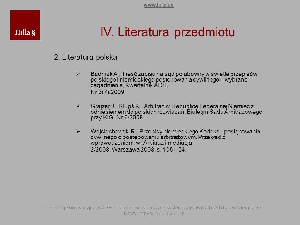 IV. Literatura przedmiotu