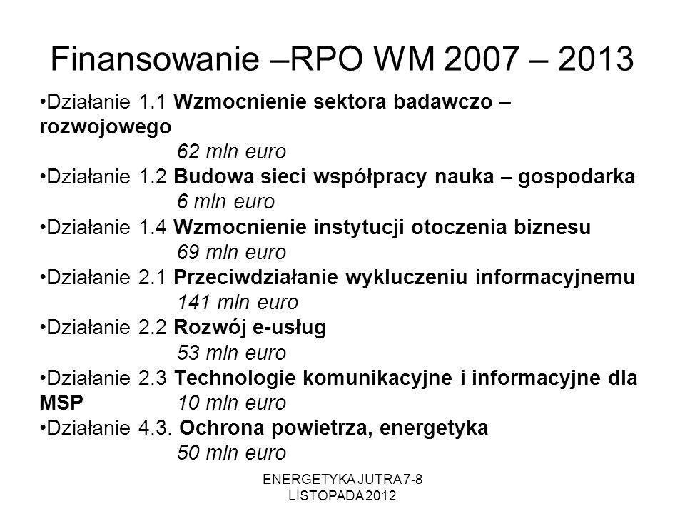 ENERGETYKA JUTRA 7-8 LISTOPADA 2012