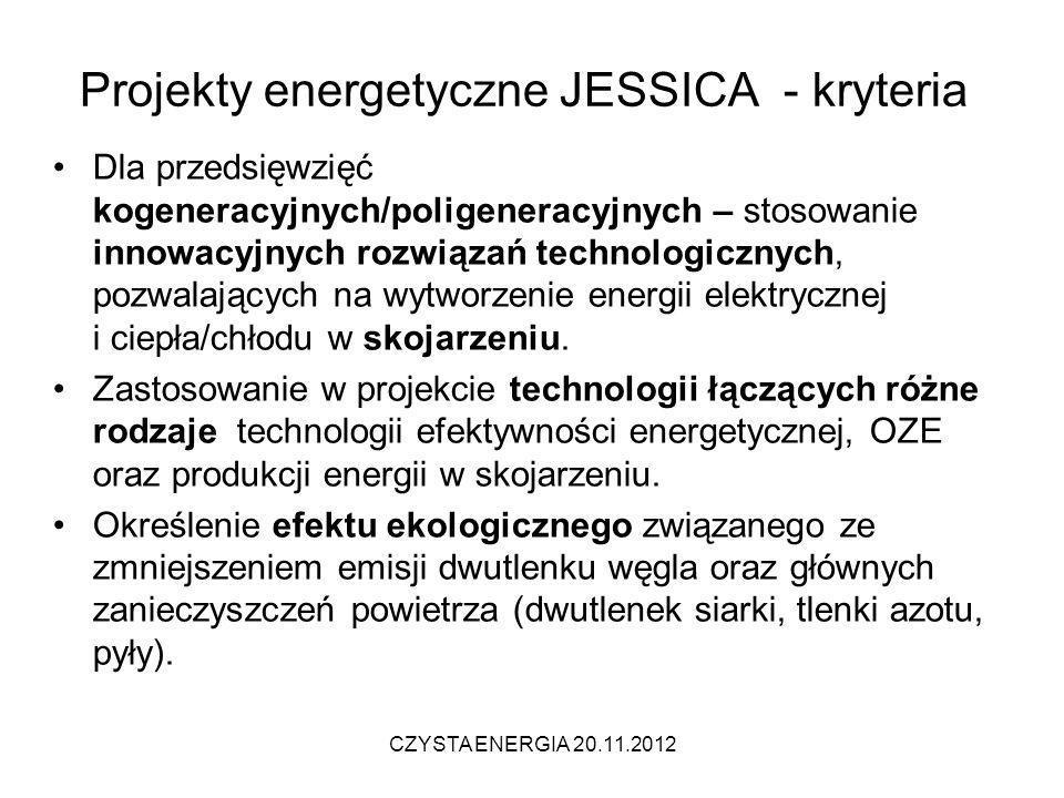 Projekty energetyczne JESSICA - kryteria
