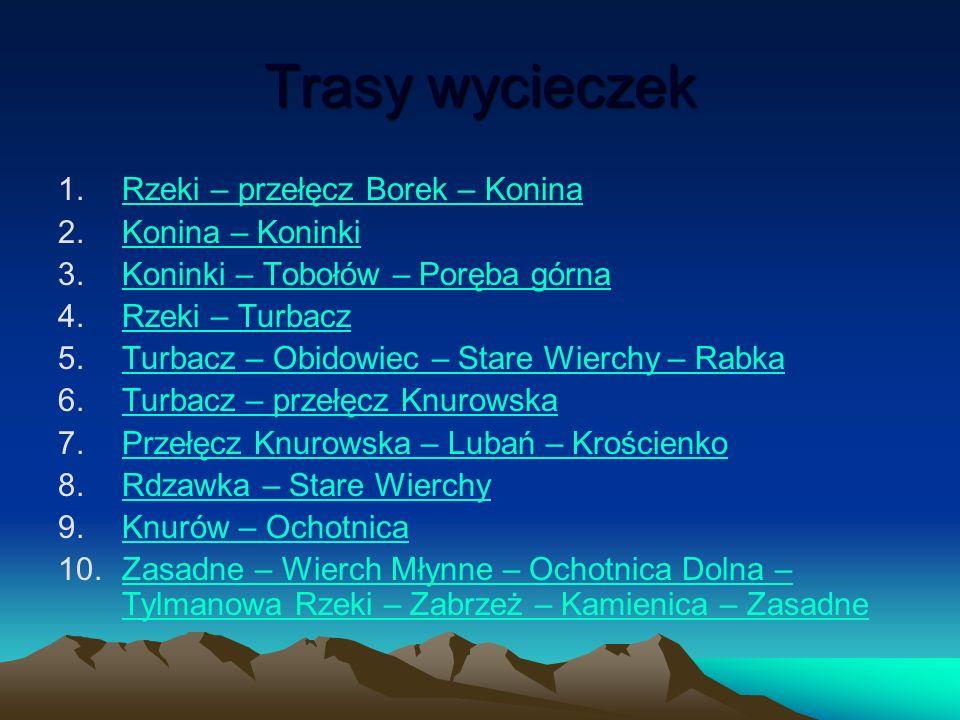 Trasy wycieczek Rzeki – przełęcz Borek – Konina Konina – Koninki