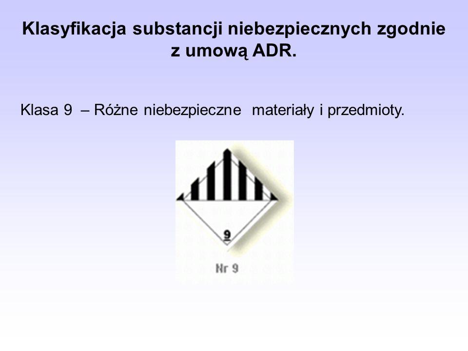 Klasyfikacja substancji niebezpiecznych zgodnie z umową ADR.