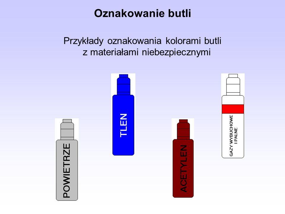 Przykłady oznakowania kolorami butli z materiałami niebezpiecznymi