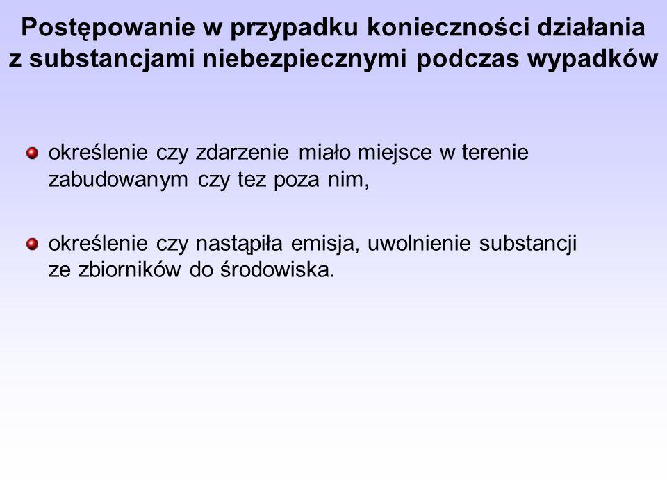 Postępowanie w przypadku konieczności działania z substancjami niebezpiecznymi podczas wypadków
