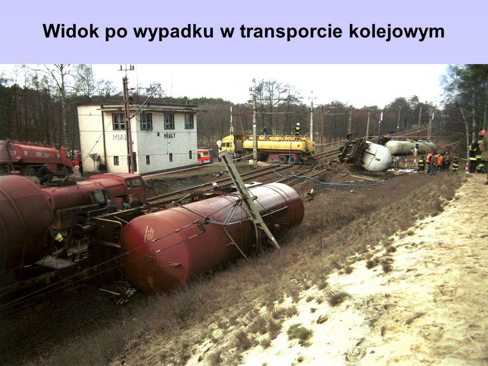Widok po wypadku w transporcie kolejowym