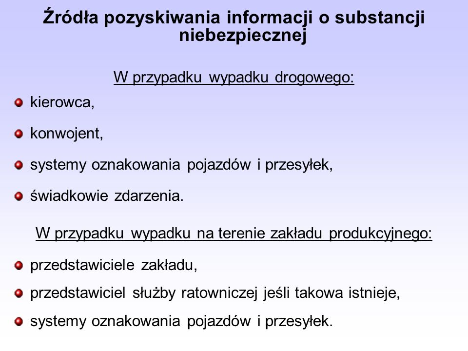 Źródła pozyskiwania informacji o substancji niebezpiecznej