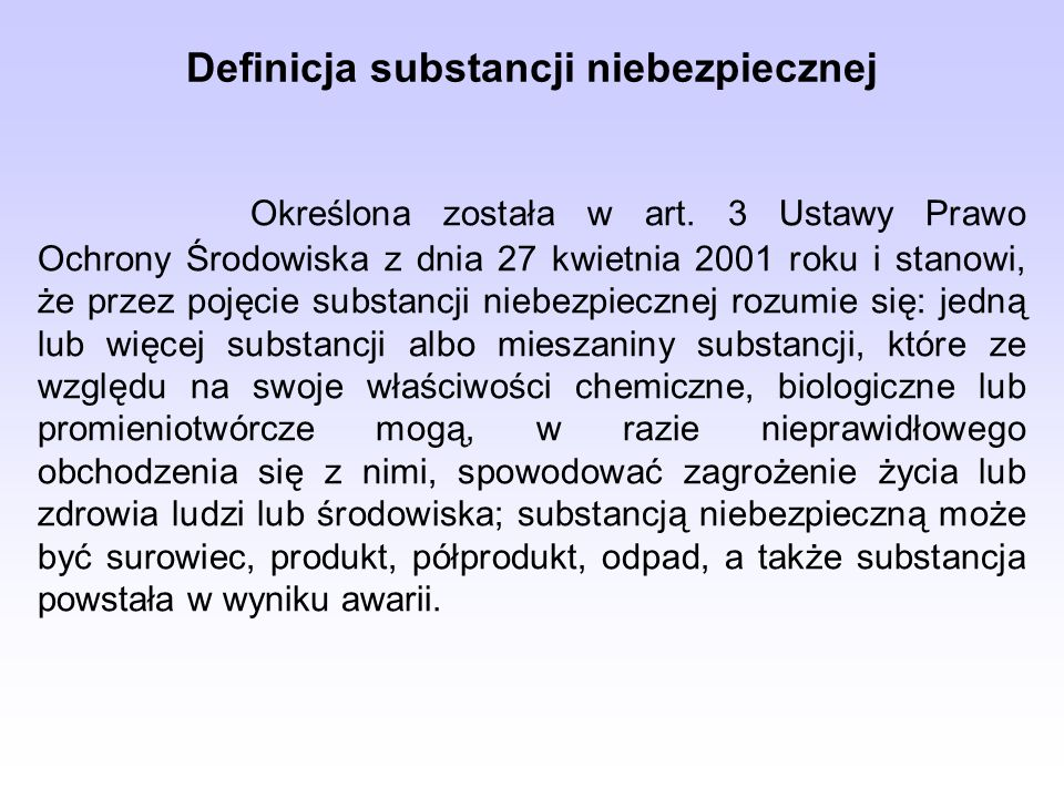 Definicja substancji niebezpiecznej