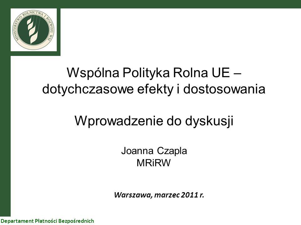 Wspólna Polityka Rolna UE – dotychczasowe efekty i dostosowania Wprowadzenie do dyskusji Joanna Czapla MRiRW