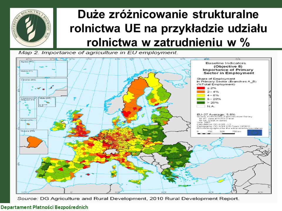 Duże zróżnicowanie strukturalne rolnictwa UE na przykładzie udziału rolnictwa w zatrudnieniu w %
