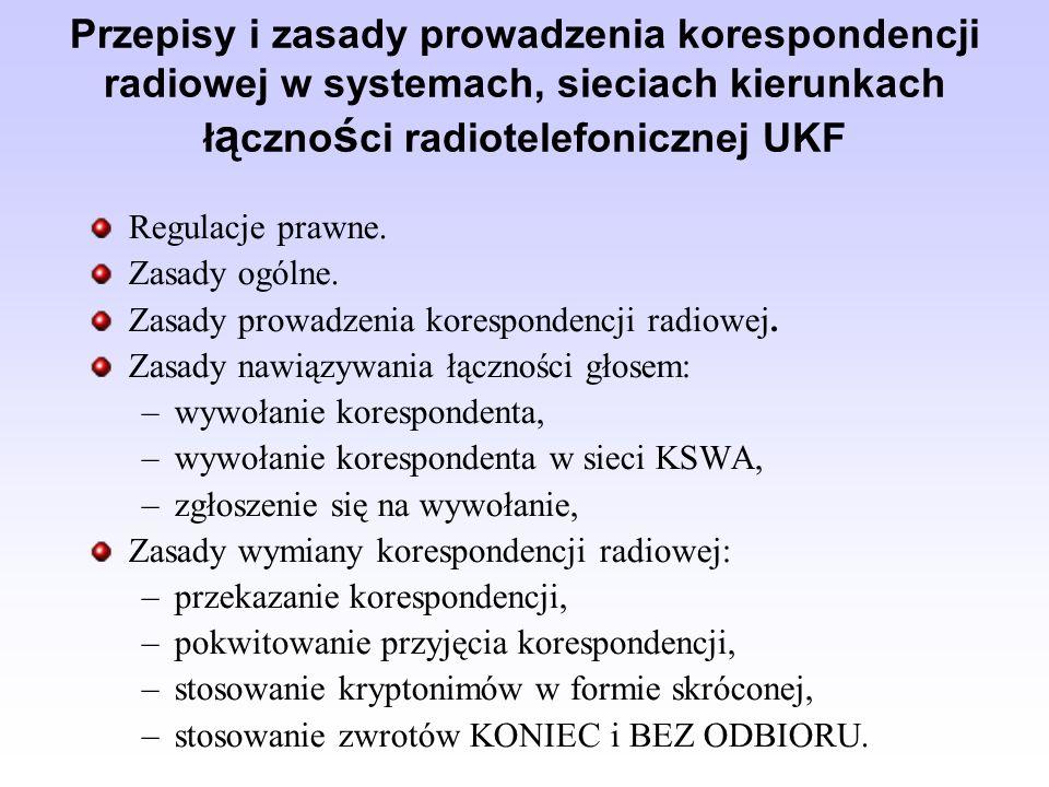 Przepisy i zasady prowadzenia korespondencji radiowej w systemach, sieciach kierunkach łączności radiotelefonicznej UKF