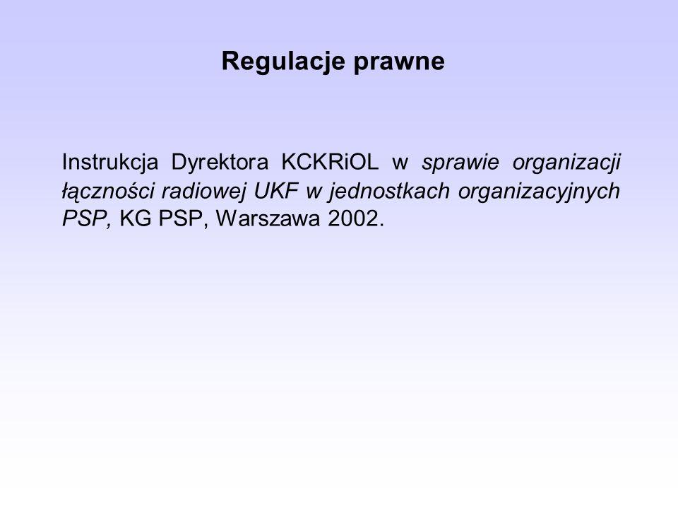 Regulacje prawneInstrukcja Dyrektora KCKRiOL w sprawie organizacji łączności radiowej UKF w jednostkach organizacyjnych PSP, KG PSP, Warszawa 2002.