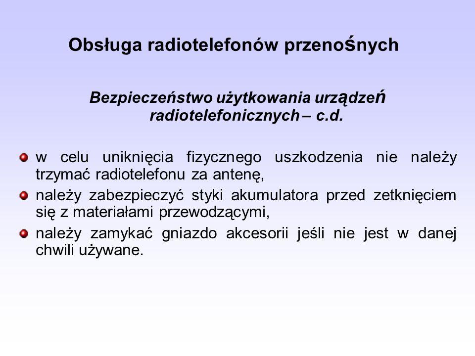 Obsługa radiotelefonów przenośnych