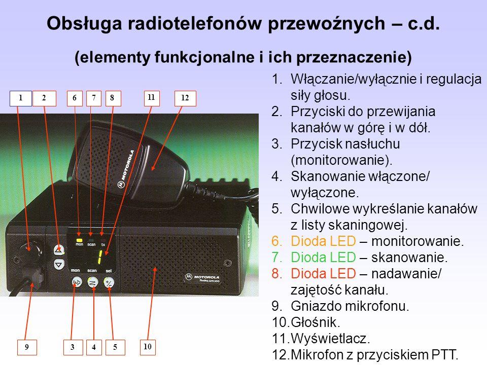 Obsługa radiotelefonów przewoźnych – c. d