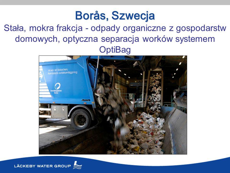 Borås, Szwecja Stała, mokra frakcja - odpady organiczne z gospodarstw domowych, optyczna separacja worków systemem OptiBag.
