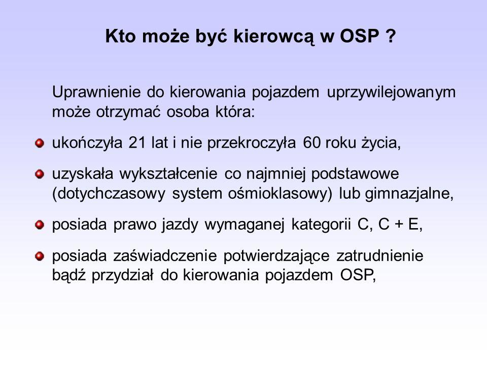 Kto może być kierowcą w OSP