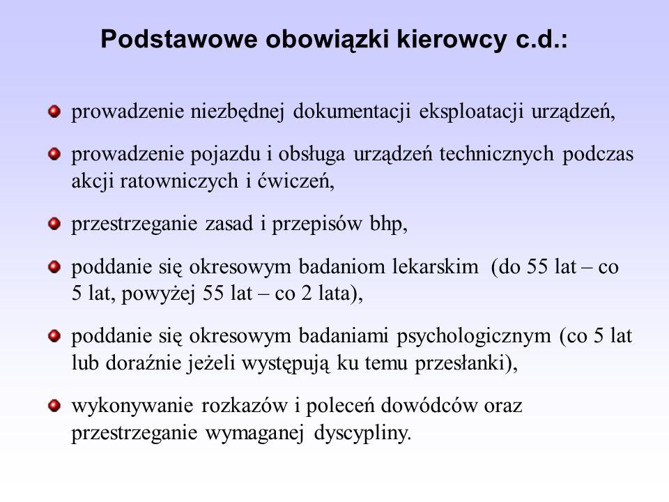 Podstawowe obowiązki kierowcy c.d.: