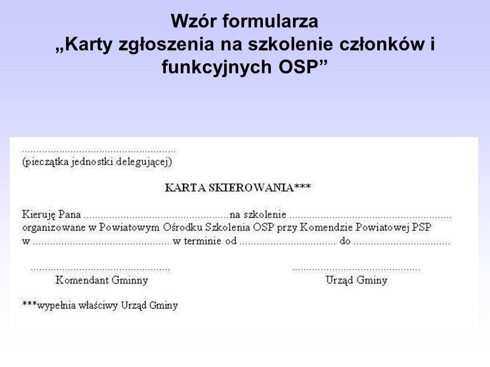 """Wzór formularza """"Karty zgłoszenia na szkolenie członków i funkcyjnych OSP"""