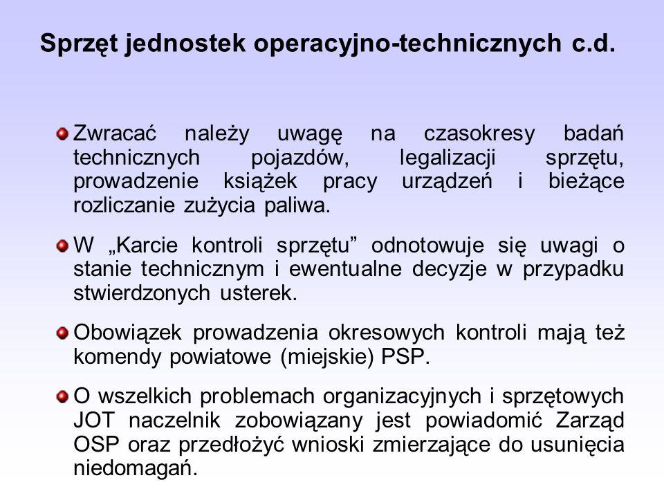 Sprzęt jednostek operacyjno-technicznych c.d.