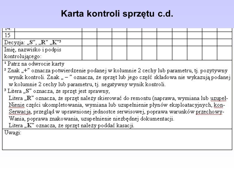 Karta kontroli sprzętu c.d.