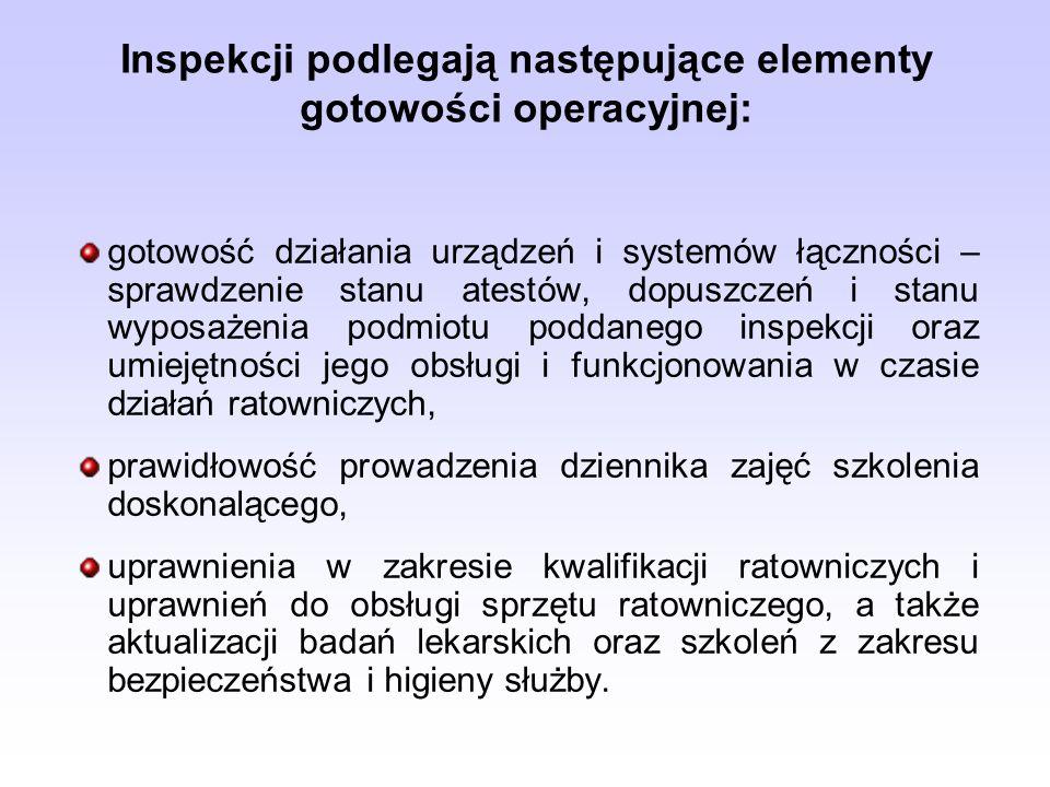 Inspekcji podlegają następujące elementy gotowości operacyjnej: