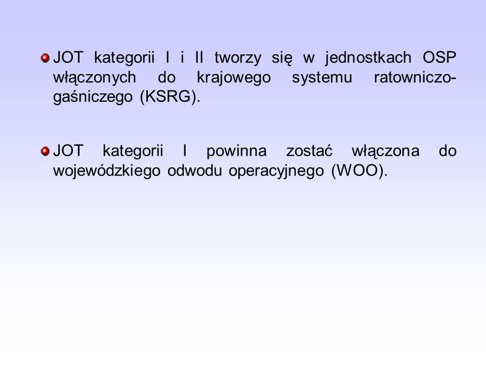 JOT kategorii I i II tworzy się w jednostkach OSP włączonych do krajowego systemu ratowniczo- gaśniczego (KSRG).