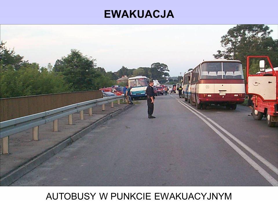 AUTOBUSY W PUNKCIE EWAKUACYJNYM