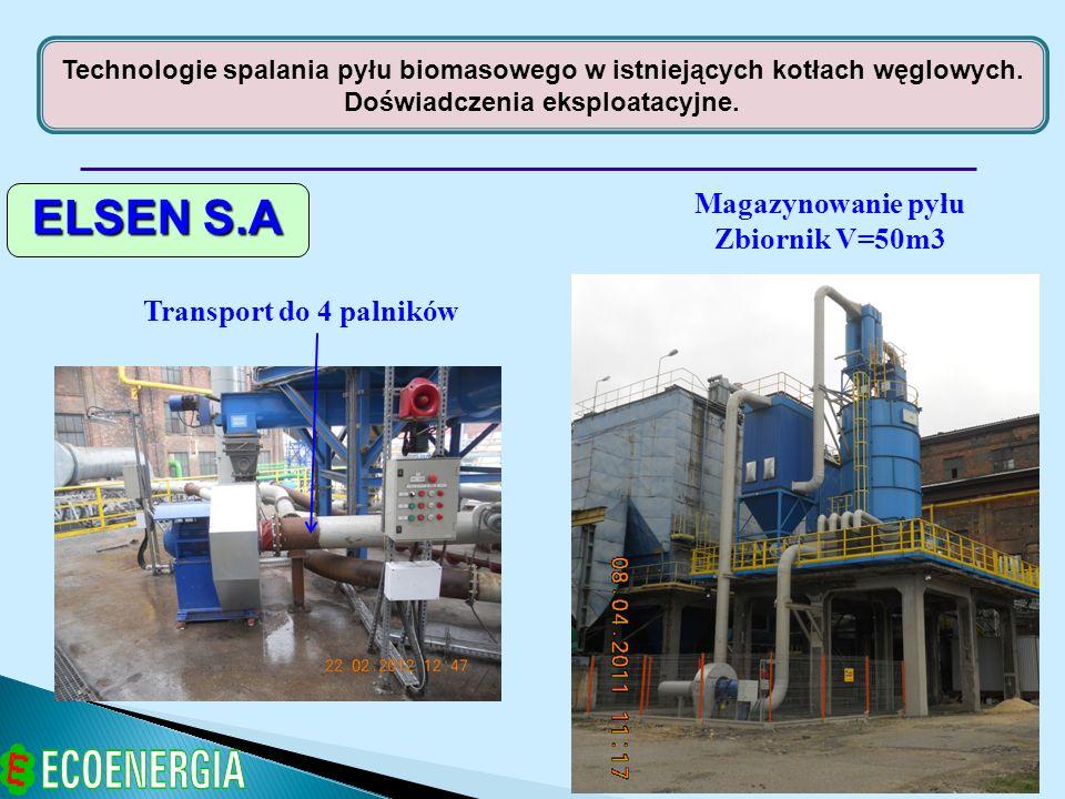 ELSEN S.A Magazynowanie pyłu Zbiornik V=50m3 Transport do 4 palników