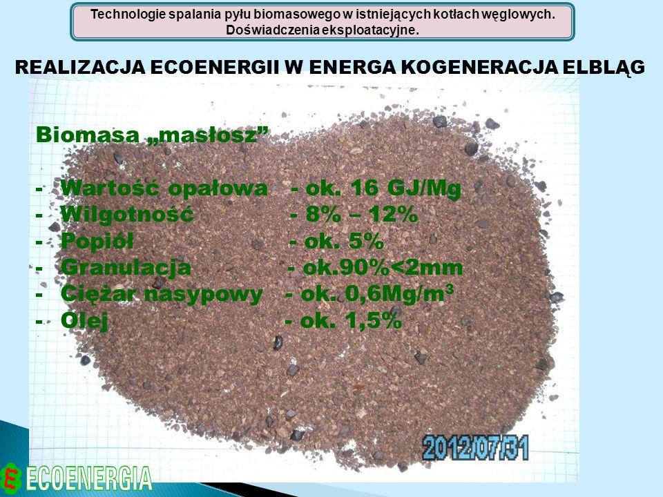 Wartość opałowa - ok. 16 GJ/Mg Wilgotność - 8% – 12% Popiół - ok. 5%