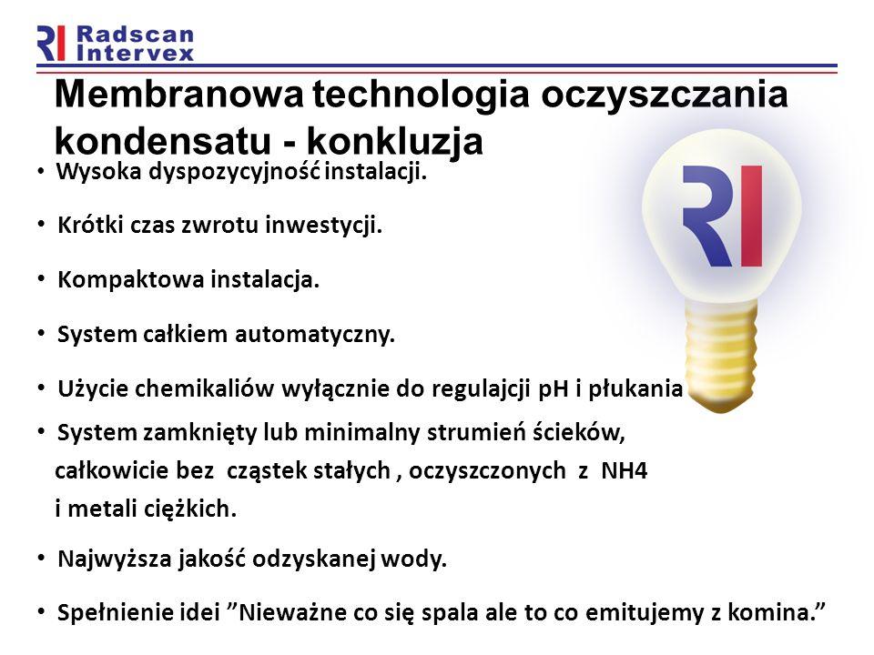 Membranowa technologia oczyszczania kondensatu - konkluzja