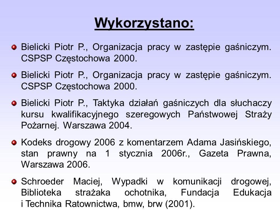 Wykorzystano: Bielicki Piotr P., Organizacja pracy w zastępie gaśniczym. CSPSP Częstochowa 2000.
